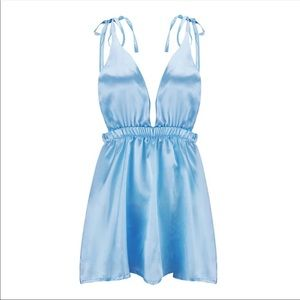 NEW Baby Blue Silk Dress Mini Small